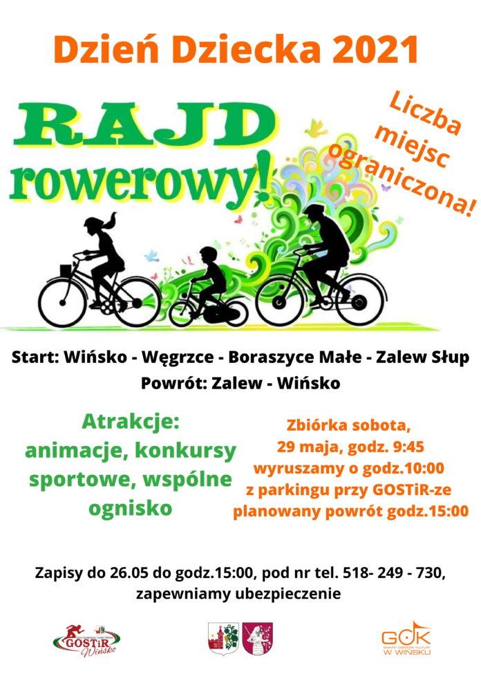Plakat promujący Rajd rowerowy z okazji Dnia Dziecka