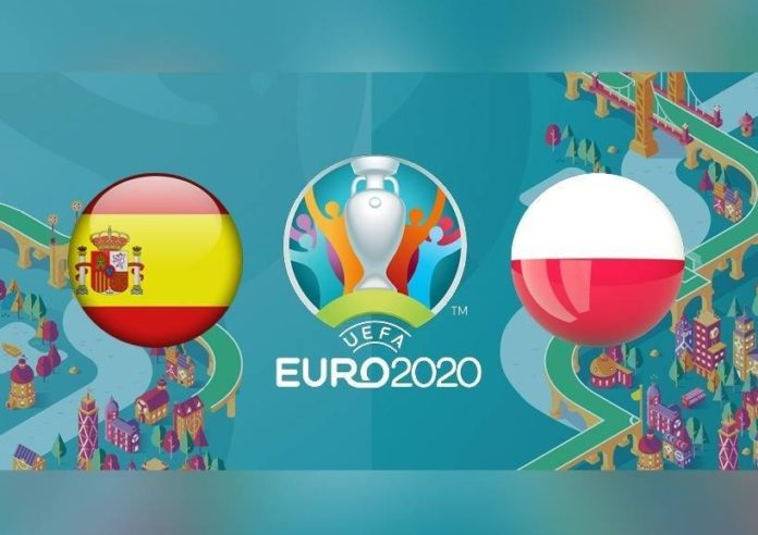 Mecz Polska - Hiszpania. Flaga Hiszpanii, logo Euro 2020, flaga Polski.